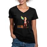 LUCY HELL, Devilgirl Women's V-Neck Dark T-Shirt