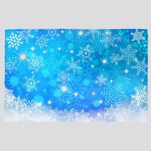 Blue Winter Snowflakes Pattern Christm 4' x 6' Rug