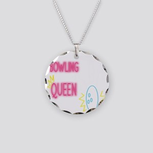 Funny Bowling Queen Pink Gif Necklace Circle Charm