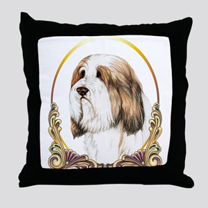 Brown Bearded Collie Gold Ring Throw Pillow