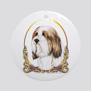 Brown Bearded Collie Gold Ring Ornament (Round)
