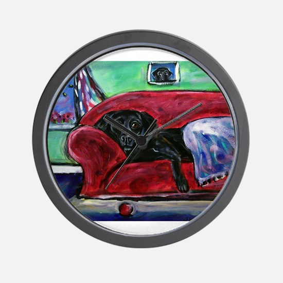 Black Labrador sofa Wall Clock