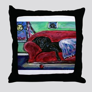 Black Labrador sofa Throw Pillow