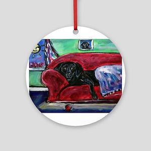 Black Labrador sofa Ornament (Round)