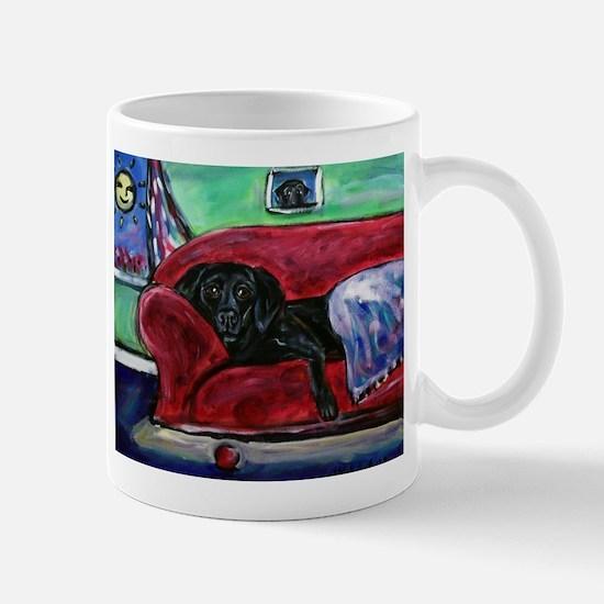 Black Labrador sofa Mug
