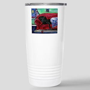 Black Labrador sofa Stainless Steel Travel Mug