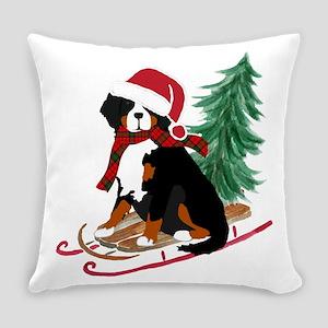 Bernese Mt Dog Xmas Sled Everyday Pillow