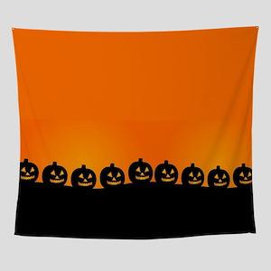 Spooky Halloween Pumpkins Wall Tapestry