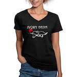 Ivory Drive Women's V-Neck Dark T-Shirt