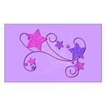Glitter Stars Rectangle Sticker 10 pk)