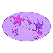 Glitter Stars Oval Sticker