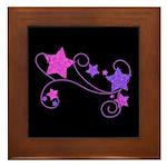 Glitter Stars on Black Framed Tile