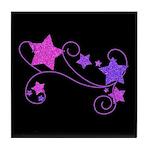 Glitter Stars on Black Tile Coaster