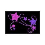 Glitter Stars on Black Rectangle Magnet (10 pack)
