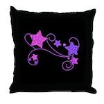 Glitter Stars on Black Throw Pillow
