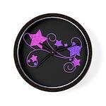 Glitter Stars on Black Wall Clock