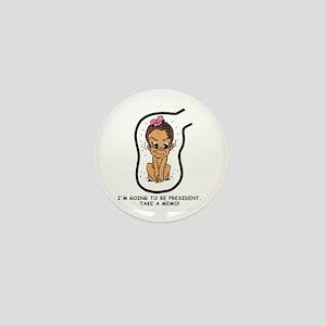 Brunette EGGBERTA President Mini Button