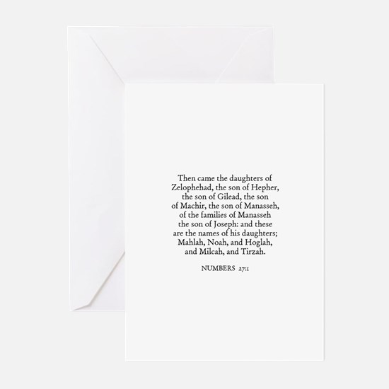 NUMBERS  27:1 Greeting Cards (Pk of 10)