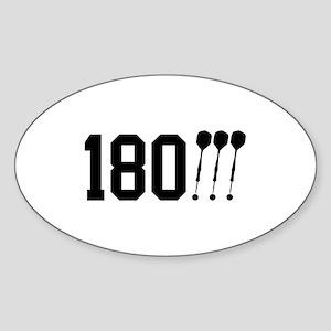 180 Darts!!! Oval Sticker