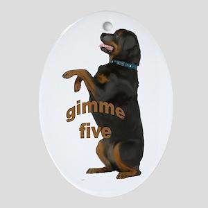 rottweiler begging Oval Ornament