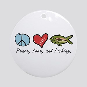 Peace, Love, Fishing Ornament (Round)