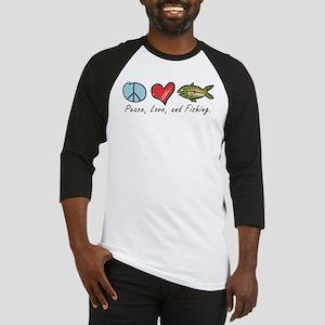 Peace, Love, Fishing Baseball Jersey