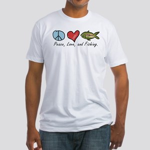 Peace, Love, Fishing Fitted T-Shirt