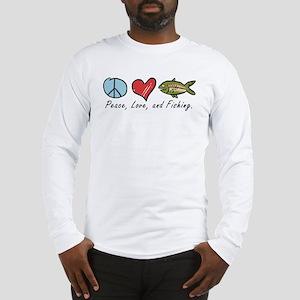 Peace, Love, Fishing Long Sleeve T-Shirt