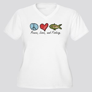 Peace, Love, Fishing Women's Plus Size V-Neck T-Sh