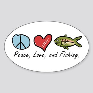 Peace, Love, Fishing Oval Sticker