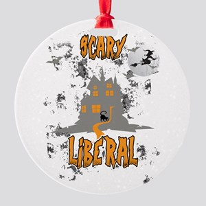 Scary Liberal Witch Funny Social Wo Round Ornament