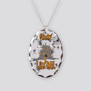 Scary Liberal Witch Funny Soci Necklace Oval Charm