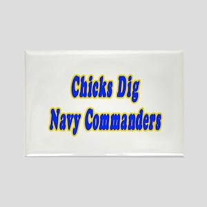 """Chicks Dig Navy Commanders"" Rectangle Magnet"