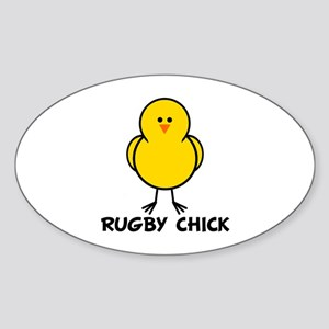 Rugby Chick Oval Sticker