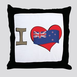 I heart New Zealand Throw Pillow