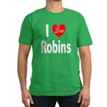 I Love Robins Men's Fitted T-Shirt (dark)