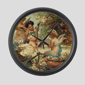 Victorian Angels by Zatzka Large Wall Clock