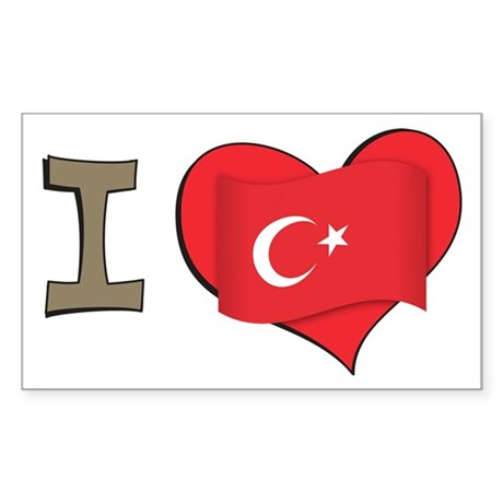 I heart Turkey Rectangle Sticker