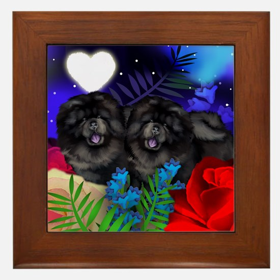 BLACK CHOW CHOW DOGS LOVE HEART Framed Tile