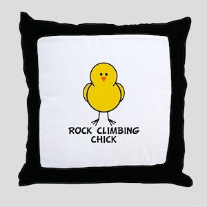 Rock Climbing Chick Throw Pillow