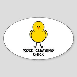 Rock Climbing Chick Oval Sticker