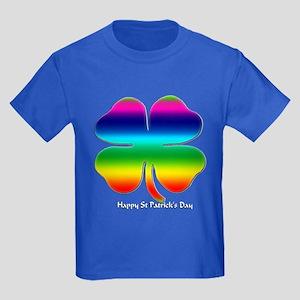 Rainbow Shamrock Kids Dark T-Shirt