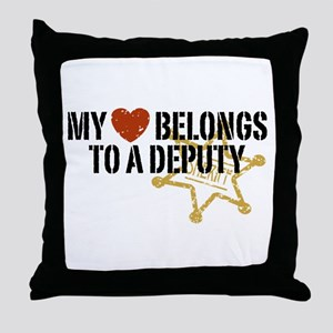 My Heart Belongs to a Deputy Throw Pillow