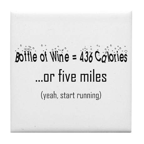 Bottle of Wine = 5 Miles Tile Coaster