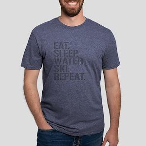 Eat Sleep Waterski Repeat Mens Tri-blend T-Shirt