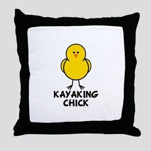 Kayaking Chick Throw Pillow