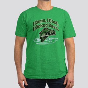 CAME, CAST, KICKED BASS Men's Fitted T-Shirt (dark