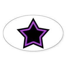 Black Glitter Star Oval Sticker