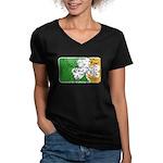 Retro Irish Logo Women's V-Neck Dark T-Shirt