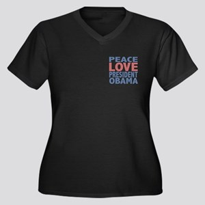 Peace Love President Obama Women's Plus Size V-Nec